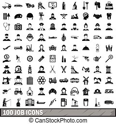 100 job icons set in simple style for any design vector...