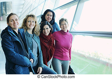 Portrait of beautiful five friends traveling together