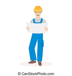 Builder or construction superintendent in a helmet and with...
