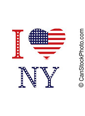 stary i love ny - illustration of i love ny with american...