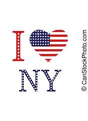 stary i love ny - illustration of i love ny with american...