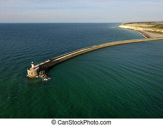 Breakwater - Aerial view of breakwater and Lighthouse at...