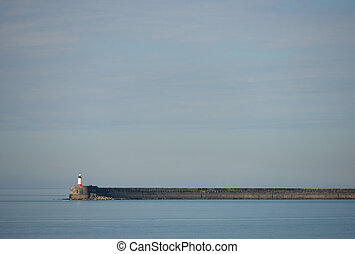 Breakwater - Newhaven breakwater arm and lighthouse , East...