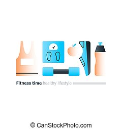 Fitness poster with sport equipment, gym identity concept,...