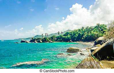 view on tayrona beach in colombia - view on tropical tayrona...