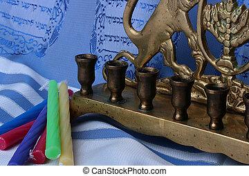 Menorah and candles - Jewish menorah and colorful candles...