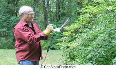 senior man using electric shears - senior man trimming hedge...