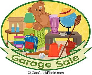 Garage Sale Clipart - Cute clip art of different household...
