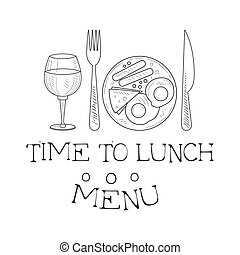 Cafe Lunch Menu Promo Sign In Sketch Style With English...