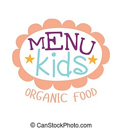 Kids Food , Cafe Special Menu For Children Colorful Promo Sign Template With Text In Pink Floral Frame