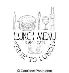 Cafe Lunch Menu Promo Sign In Sketch Style With Full Meal,...
