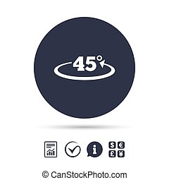 Angle 45 degrees sign icon. Geometry math symbol. Report...