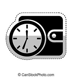 time clock with wallet isolated icon