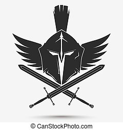 Spartan warrior Helmet - Spartan Helmet logo with crossed...