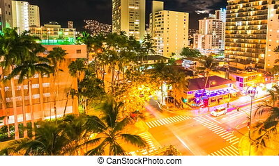 Waikiki moonlight Aerial View - Moonlight Time lapse of...