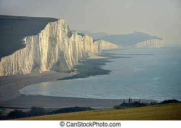 Seven sisters - Chalk cliffs of the Seven Sisters, East...