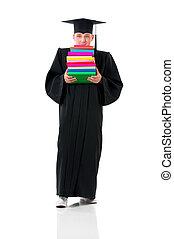 Full length graduation man - Male student carrying heavy...