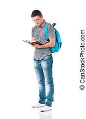 Full length student boy - Full length portrait of a...
