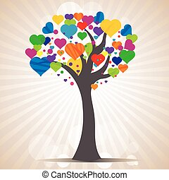 tree with heart leaves - illustration of tree with heart...
