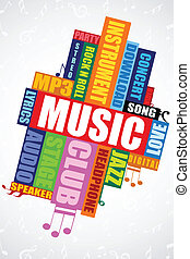 musical word cloud - illustration of colorful musical word...