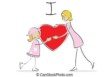cada, outro, filha, Abraçando, mãe