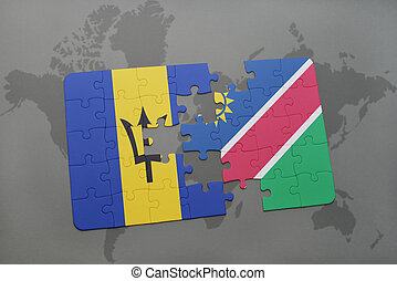 puzzle with the national flag of barbados and namibia on a...