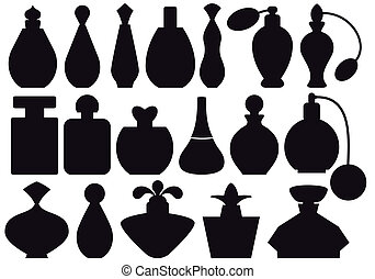 perfume bottles - set of perfume bottle silhouettes, vector