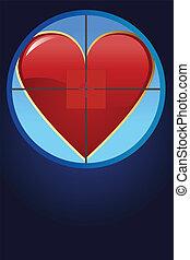 Hearth on cross hair - Editable vector illustration - Hearth...