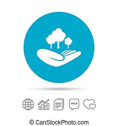 Save forest sign. Hand holds tree symbol. - Save forest sign...
