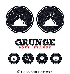 Food platter serving sign icon. Table setting. - Grunge post...