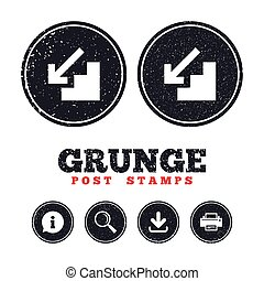 Downstairs icon. Down arrow sign. - Grunge post stamps....