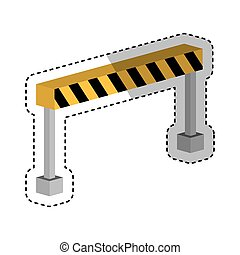construction barrier isometric icon vector illustration...
