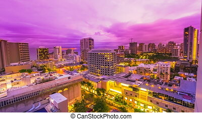 Waikiki Aerial View - Time lapse with changing pink light at...