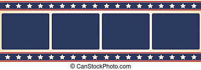 Film frame - Stars and stripes - Editable vector film frame...