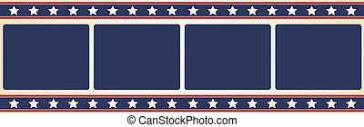 Film frame - Stars and stripes - Editable vector film frame...