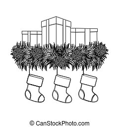 figure boxes with fir and christmas boots
