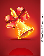 school bell with red ribbon vector illustration