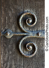 Door hinges - Old ornate iron door hinge / bracket