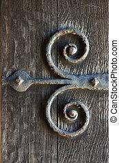 Door hinges - Old ornate iron door hinge / bracket
