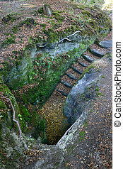 Lake wood steps - Stone steps to an old sandstone tunnel