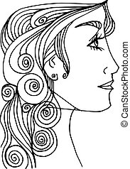 beautiful woman face illustration Sketch - Abstract...