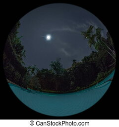 tropical resort timelapse with fisheye lens - tropical...