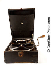 Vintage gramophone with a 78 rpm vinyl record on