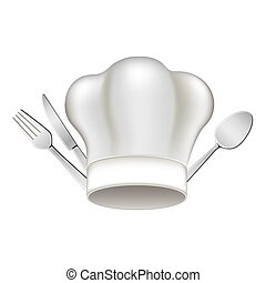white hat with cutlery icon, vector illustraction design...