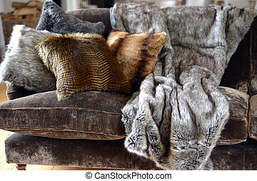 Faux fur throws and cushions room interior