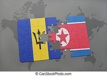 puzzle with the national flag of barbados and north korea on...