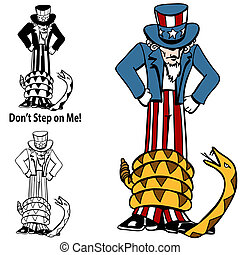 Tea Party Rattlesnake Uncle Sam - An image of a tea party...