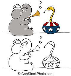 Elephant Snake Charmer - A political image of a elephant...