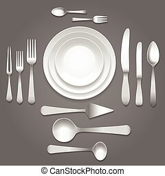 Vector dinnerware top view. Empty plates, forks and knifes...