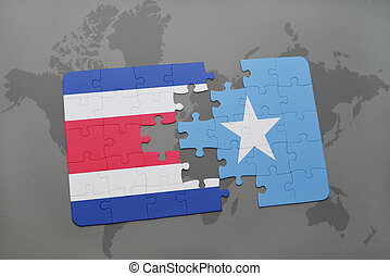 puzzle with the national flag of costa rica and somalia on a...